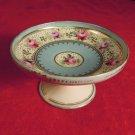 Vintage Nut Pedestal Dish Floral