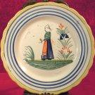 Quimper Bretonne Woman Plate 6.50