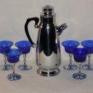 Vintage Cocktail Bar Set, Chrome, Cobalt Blue Glasses