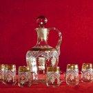 Vintage  Decanter Cordial Set Enamel Floral Gold Trim