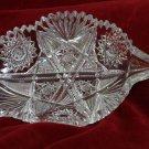 ABP  Cut Glass Candy Dish Leaf Shaped Saw tooth Rim Hobstar Buzz Stars