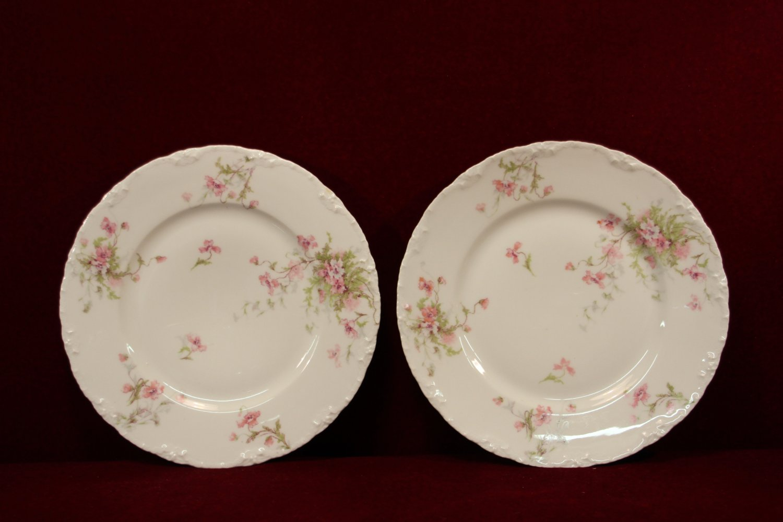 Haviland Plates Floral Pink Burgundy Blue Two P