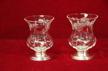 Candle Holders Sterling Base Etched Glass
