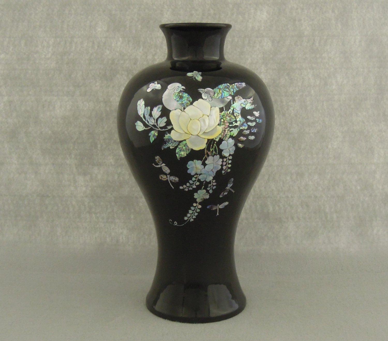 Vintage Vase Black Mother of Pearl Korean Bird and Floral