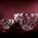 Pair Crystal Shell Swirled Bowls Vintage