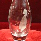 Glass Etched Bud Vase Sweden Shepard Boy Gazing at Stars