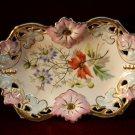 Antique Carl Tielsch German Dish Floral Stunning Germany