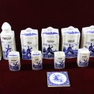 Antique German Grief Canisters Delft Sailboats Blue and White 22 pieces