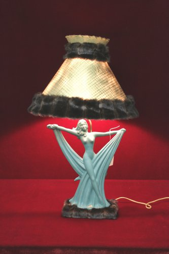 Royal Haeger Art Deco Nude Lamp Mink Trim Shade Unique Teal