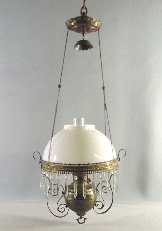 Antique Hanging Parlor Oil Lamp Royal Center Draft White