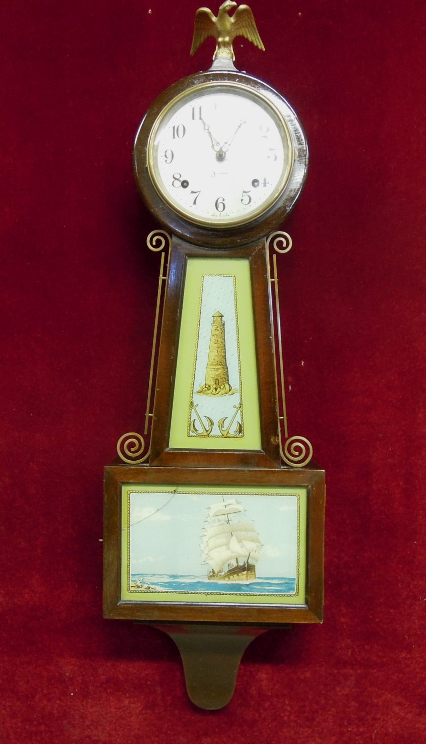 Antique Sessions Banjo Wall Clock Nautical Lighthouse Ship