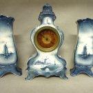 Antique Delft Clock and Vase Set Sailboat Windmills