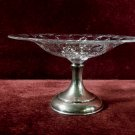 Vintage Glass Compote Cut Floral Designs Sterling Base