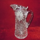 Vintage Crystal Pitcher Cornflowers Leaves Notched handle