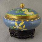 Vintage Cloisonné Jar with Lid Roses Gold Final Wood Stand