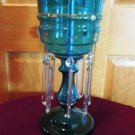 Antique Glass Luster Crystal Lamp Light Blue