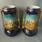 Pair English Vases Hand Painted MAn on top of Camel