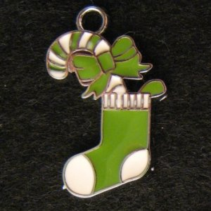 Christmas Sock Pendant (Green/White)