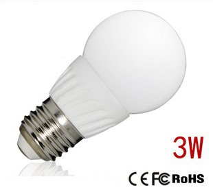LED Light Bulb (Ball) (3W) (Cool White) (E27)