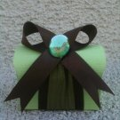 Favor Box- Green treasure box with brown ribbon