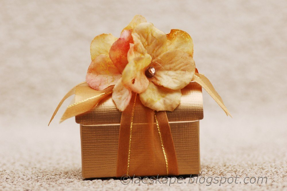Favor Box- Gold treasure box with Gold Flower