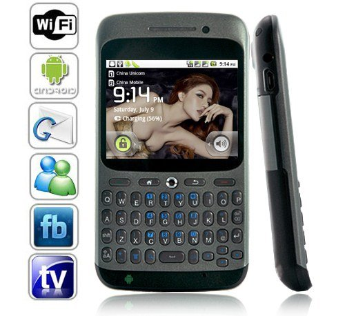 Dual SIM Android 2.2 OS QWERTY Touchscreen Smart Phone Support WIFI + GPS - Gray