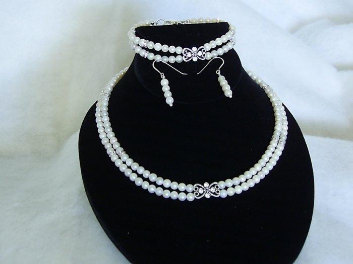 Bridal Jewelry Akoya Saltwater Pearls with Butterfly Swarovski Crystals Necklace 3 piece Set