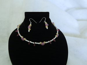 Bridal Jewelry Pink Flower with Red Tear Drop Choker with Pierced Earrings