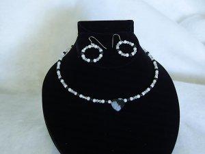 Bridal Jewelry Obsidian Snowflake Heart Choker with Pierced Earrings