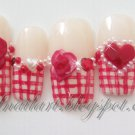 SALE! Red Gingham w/3D Roses Hearts & Pearls
