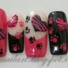SALE! Hot Pink & Black w/3D Hearts & Paw Prints