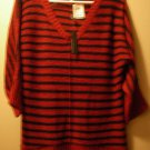 Cable & Gauge NEW Red Ribbed Trim Dolman Sleeves Pullover Sweater Top L