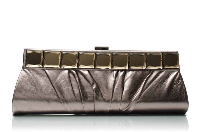 MIRROR FAUX LEATHER PEWTER CLUTCH EVENING BAG
