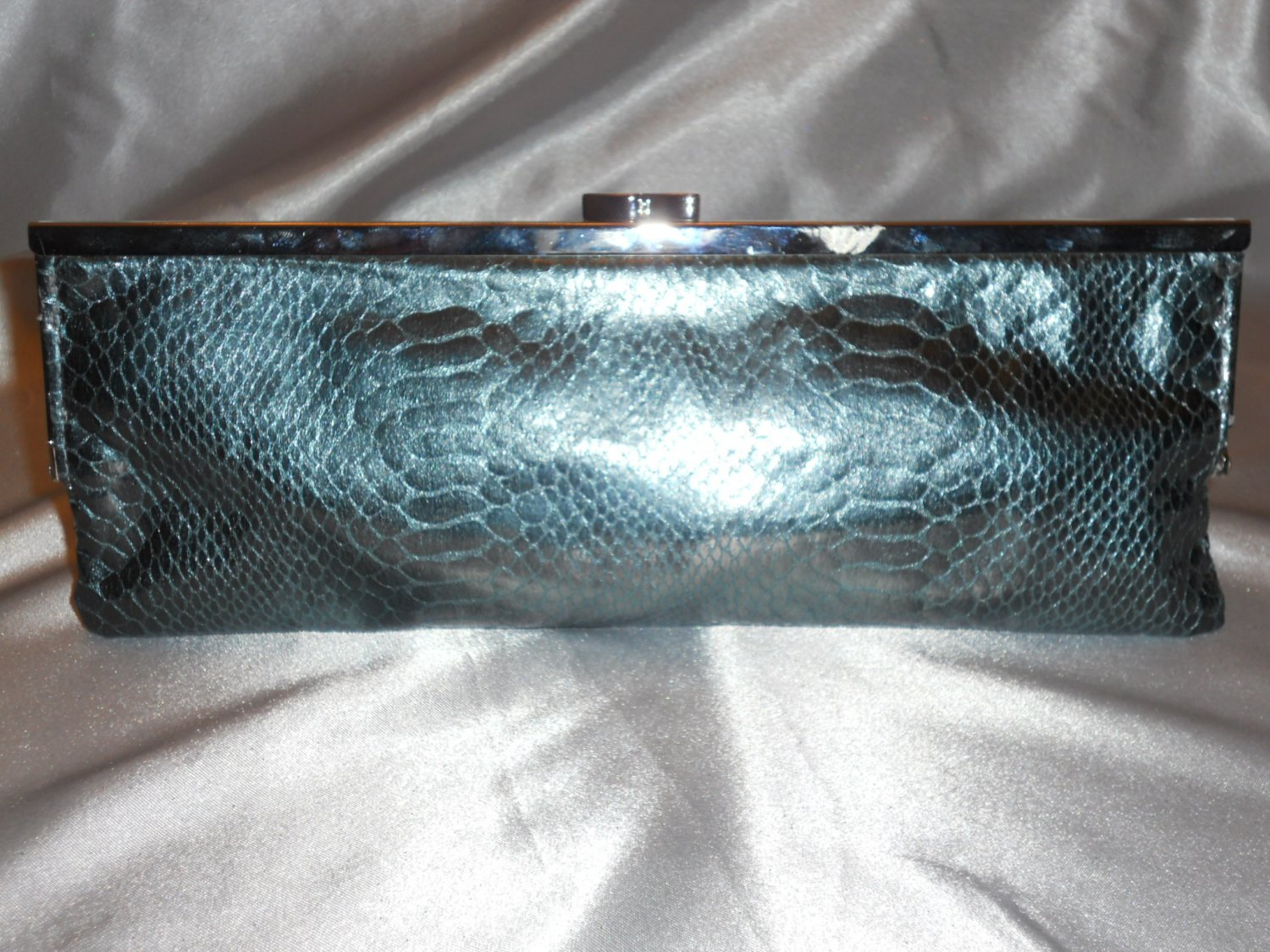NATURAL GRAINED  PYTHON SNAKE SKIN EVENING CLUTCH BAG IN PEWTER