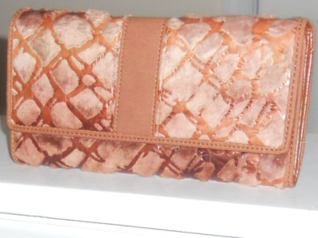 PLUSH LUXURY  TAN FAUX FUR AND STIMULATED LEATHER CHECKBOOK WALLET