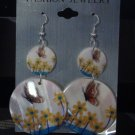 Fashion jewelry dangle earrings, decorated with butterflies