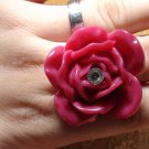 2 Pink Flower ring with Rhinestone