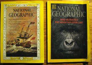National Geographic Sweden Ships 1963 Gorillas 2 Issues