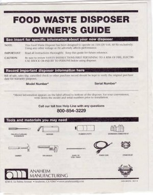 New Waste King L-2600 Legend Garbage Disposer Manual