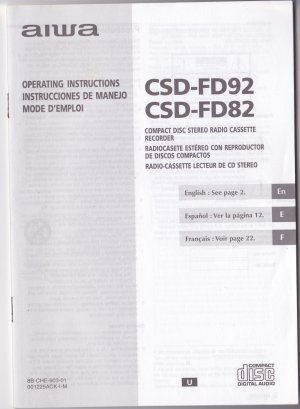 New Aiwa CSD-FD92/82 Manual Operating Instructions Book