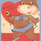 Vintage Valentine ALL HIPPED UP Hippo 1940s