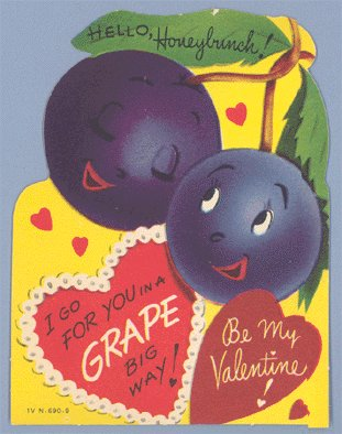 Vintage Valentine GRAPE BIG WAY Personified Food