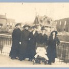 Vintage Photo GROUP W/BABY in PRAM Carriage 1900s