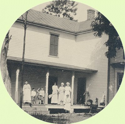 Vintage Photo VICTORIAN HOUSE Posing on the Porch