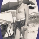 Vintage Photo MAN IN BELTED SWIMSUIT Swim Trunks