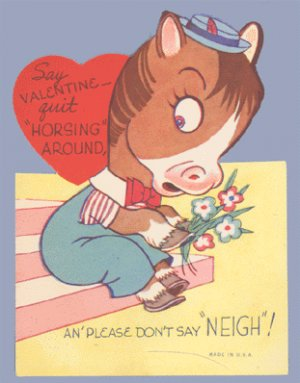 Vintage Valentine 1950s HORSE Don't say NEIGH