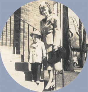 Vintage Photo WOMAN with BOY in FEDORA hat 1940s