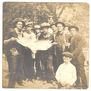 Antique PHOTO 1910s HUNTERS with HAWK Falcon