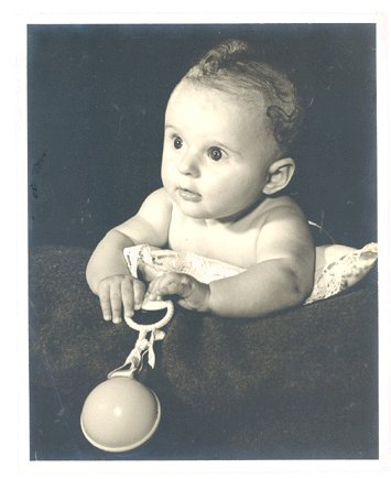 VINTAGE Photo BABY Infant with RATTLE