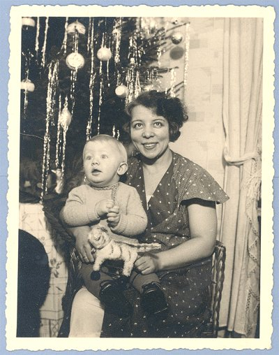 Vintage PHOTO Christmas 1940s TREE Tiger pull TOY Baby